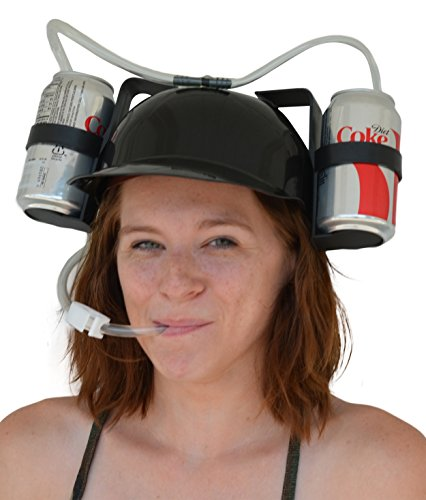 KINGSO Beer Soda Guzzler Helmet Drinking Party Hat Black