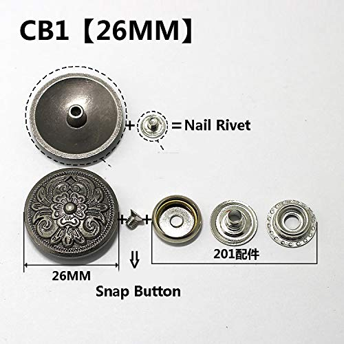 (Snap Button Silver Metal Buttons Nail Rivet with Bead Decoration for Leathercraft Bag Snap Fastener Leather Sewing Accessories CB1 26mm Snap Button)