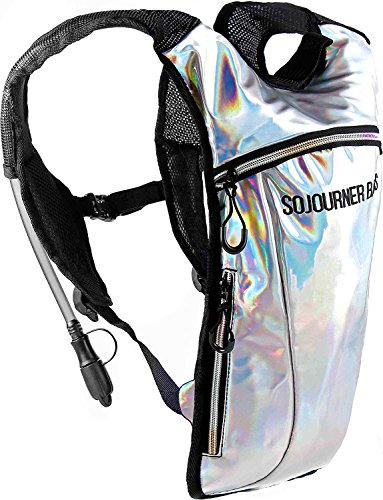 Sojourner Hydration Pack Backpack - 2L Water Bladder Included for Festivals, Raves, Hiking, Biking, Climbing, Running and More (Holographic Silver)