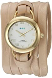 La Mer Collections Women's LMSATURN15004 Gold-Tone Watch with Wraparound Leather Band