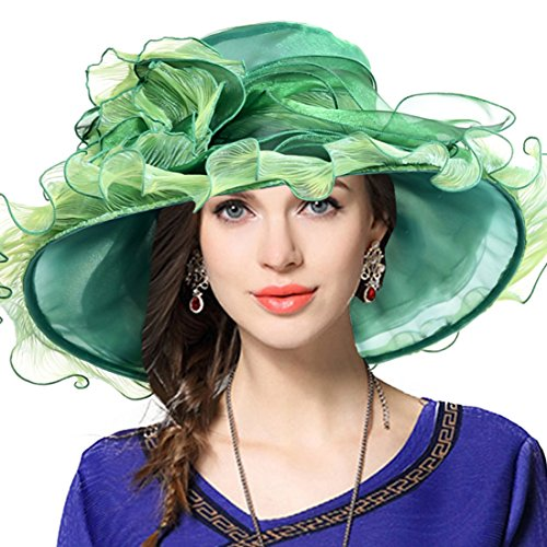 Kentucky Derby Hat Wide Brim Flounce Cocktail Tea Party Bridal Dress Church Hat (Ruffle-Green)]()
