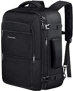 Vancropak 40L Flight Approved Weekender Carry On Backpack, Expandable Large Travel Backpacks Bag for Men Women, Water Resistant Luggage Rucksack Daypack for Outdoor,Black