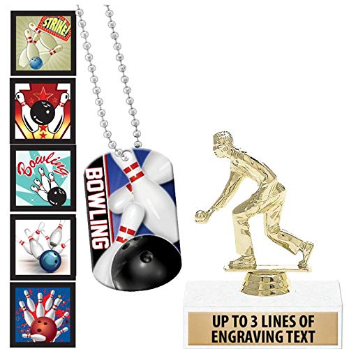 Crown Awards Bowling Goodie Bags, Bowling Favors for Bowling Themed Party Supplies Comes with Personalized Male Lawn Bowling Trophy, Bowling Dog Tag and Bowling Stickers 20 Pack Prime by Crown Awards (Image #4)