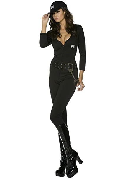 Ladies 5 Piece Police Woman Cops /& Robbers Halloween Fancy Dress Costume Outfit