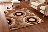 Casa Regina Shaggy Collection - 3D Design - Abstract Circles Brown Beige Soft Shag Area Rugs 5x7