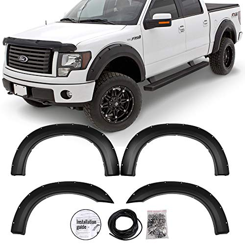 IKON MOTORSPORTS Fender Flare Fits 1999-2007 Ford F250 F350 Superduty | Pocket Rivet Style Smooth Black PP Wheel Protector Protection Guards Cover