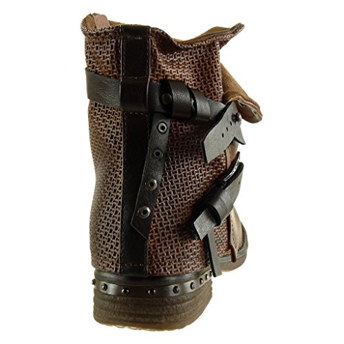 Camel Ankle 5 cavalier Shoes biker heel thong high classic boots Booty Angkorly studded 3 braided Women's Fashion Block CM qHnwptC1