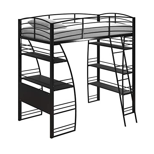 Bedroom DHP Studio Loft Bunk Bed Over Desk and Bookcase with Metal Frame, Black, Twin bunk beds