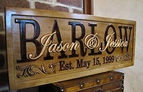 Personalized Family Name Signs FLOURISH CARVED Custom Wood Sign Last name rustic Wedding Gift Established Anniversary gift for couple personalized sign flourish scroll accents