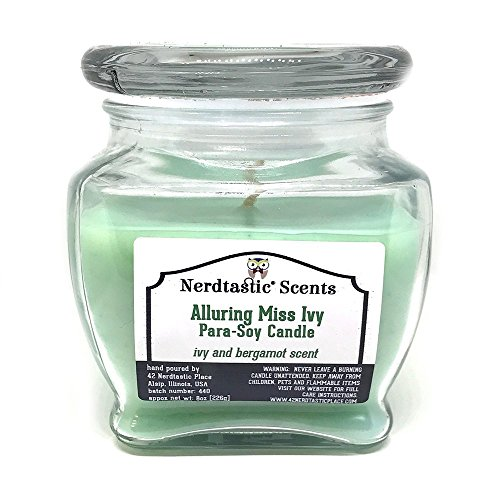 Alluring Miss Ivy, Ivy and Bergamot Paraffin Soy Candle. 8oz Glass (Ivy Jar)