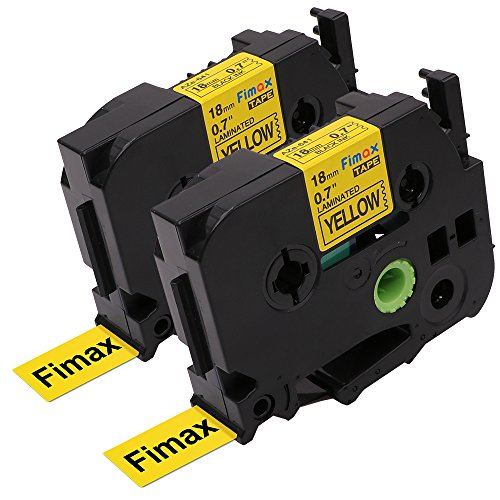 "Fimax 2 PK Standard Laminated Label Tape Compatible For Brother P-Touch TZe-641 TZ641 TZe641 Black on Yellow 0.7"" 26.2ft (18mm/8M)"