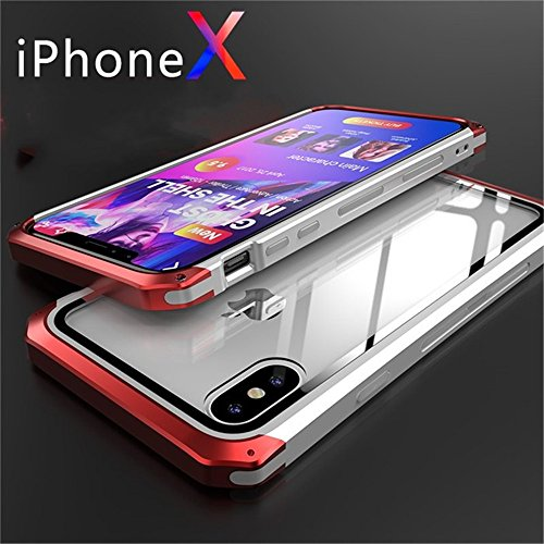 iPhone x Case, iPhone 10 Case Aluminum Metal Bumper Protector Shell with Transparent Clear Toughened Glass Multicolor Cover for iPhone X 5.8 (Whiter&Red, for iPhone X)