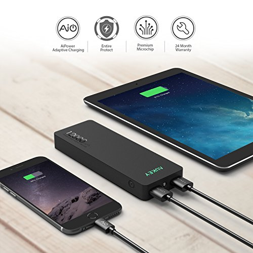 AUKEY 12000mAh mobile or portable vitality Bank Charger External Battery Pack utilizing AiPower computer for Apple iPhone 6S iPhone 6S Plus Android and different USB driven Device add-ons Week