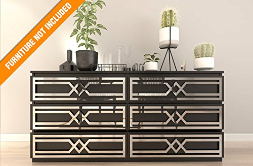 HomeArtDecor | Evora Fretwork Pattern | Suitable for IKEA Malm | High Quality Overlay | Color: PVC White/Paintable, Golden Mirror, Silver Mirror, Brushed Silver | Furniture Hardware | Makeover