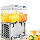 OrangeA Juice Dispenser Commercial Beverage Dispenser with Spigot Drink Dispenser 9.5 Gallon Cold Fruit Juice Beverage Ice Tea Drink Dispenser 18L X 2 Tanks (9.5 Gallon 2 Tanks)