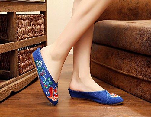 ESFine zapatos bordados, suela de tendón, estilo étnico, solapa hembra, moda, cómodo, sandalias amarillo