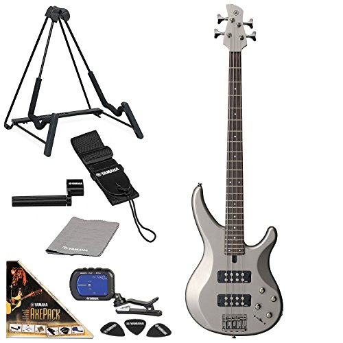 Yamaha TRBX304 Electric Bass Guitar Solid Mahogany with AxePack Accessory Pack (Pewter)