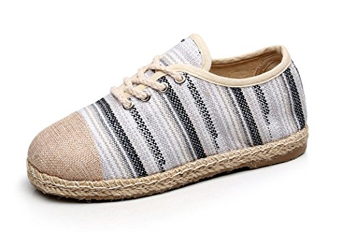 Soojun Womens New Exotic Lace Up Espadrilles Chic Round Toe Flats #2 Grey AHTOc