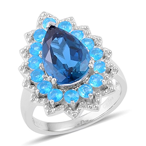 Blue Topaz, Neon Apatite Sterling Silver Ring 5.3 cttw Size (Apatite Sterling Silver Ring)