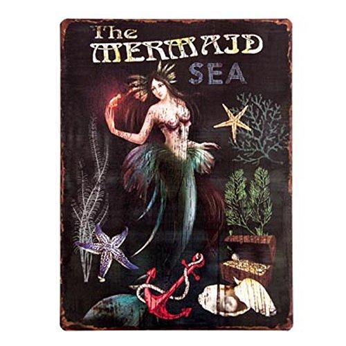 (Vintage Mermaid Metal Sign } Retro Coastal Style   14
