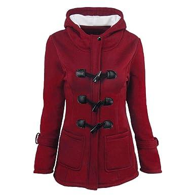 c4420ca35c6 Rovinci Femmes Manteaux à Capuche Bouton Corne Blouson Veste Jacket Manches  Longues Chaud Épais Hoodie Hoody