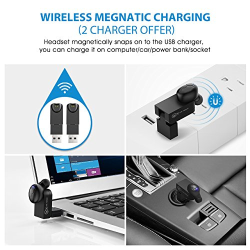 Large Product Image of Mpow EM1 Bluetooth Earpiece, V4.1 Wireless Headphones, 6-Hr Playing Time Mini Bluetooth Earbud with Microphone, Invisible Car Bluetooth Headset for Cell Phone (One Pcs, Two Charger)