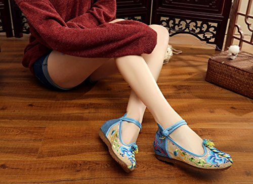 Janes Femme Main Bleu Broderie Ballerine Gâteau Avec Fait Mary Icegrey Fleur Plat Chaussures 1x6qEnE