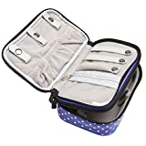 Teamoy Jewelry Travel Case, Jewelry & Accessories Holder Organizer for Necklace, Earrings, Rings, Watch and More, Roomy, Compact and Portable, Purple Dots
