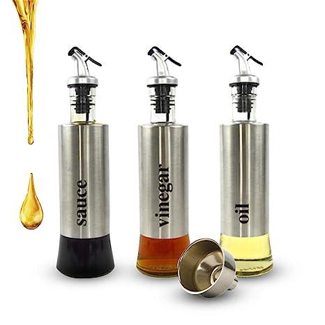 3 botellas de vinagrera de acero inoxidable para aceite ...
