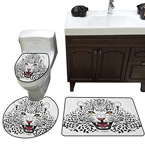 (Safari Bathroom Rug Set Leopard Illustration Predator Angry Silhouette Endangered Species Golden Eyes bathmat Toilet mat Set Black White Amber)