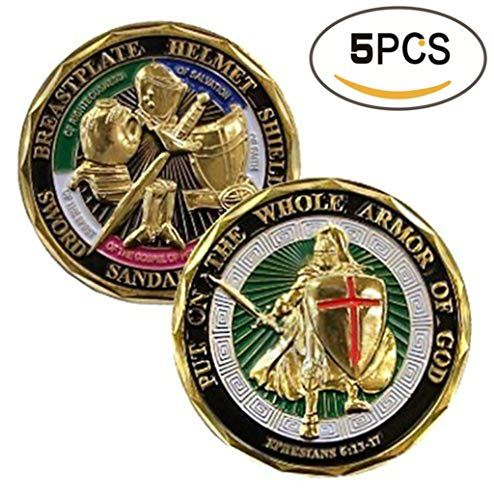 - zcccom 5 Pack Set of Challenges Coins Deluxe Collector's Set | God Challenge Coin - Officially Licensed by Each Coin Comes w/ a Plastic Round Display Case (5 Pack God Challenge Coins)