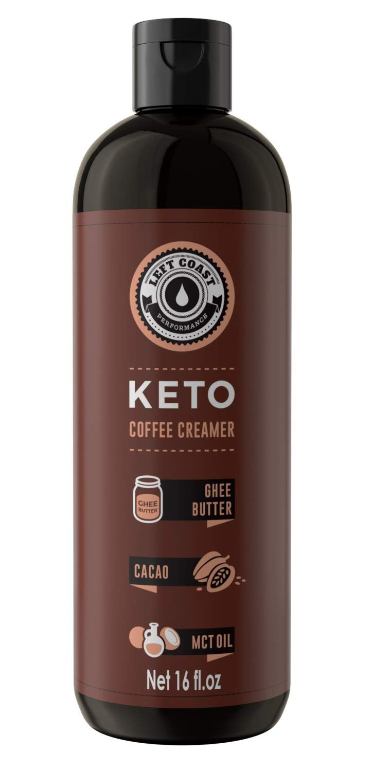 Keto Coffee Creamer with MCT Oil, Ghee Butter, Cocoa Butter - 16oz / 32 Servings (Must Blend) - No Carb Keto Creamer for Coffee Booster [Unsweetened] Ketogenic, Low Carb (Zero), Left Coast Performance by Left Coast Performance