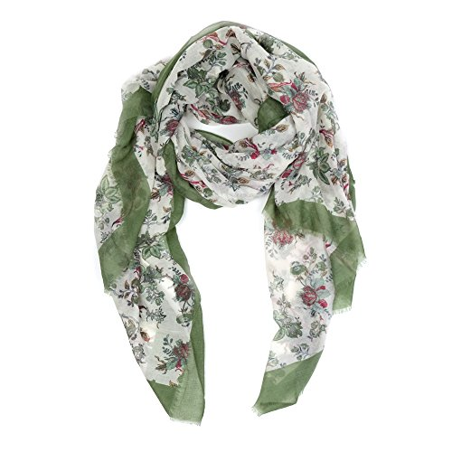 (Scarves for Women: Lightweight Cute Bird Floral Fashion shawl by MIMOSITO)