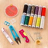 Iuhan Home Travel Thread Threader Needle Tape Measure Scissor Storage Box Sewing Kit ( Color Random )