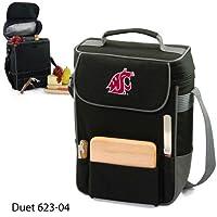 Bolsa de vino y queso aislada con dúo Cougars del estado de Washington de NCAA con el logotipo del equipo