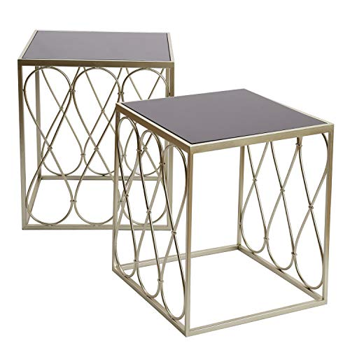 Adeco FT0258-silver Decorative Nesting Round Side Accent Plant Stand Chair for Bedroom, Living Room and Patio, Set of 2 End Tables, Champagne Silver,Black Glass