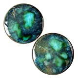 Pair - Peacock Green Glass Essential Oil Ear Plugs Organic Handmade Ceramic double-flared body jewelry