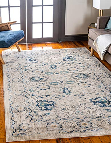 Unique Loom Oslo Collection Distressed Botanical Tradtional Beige Area Rug (7' x 10')
