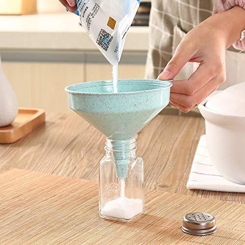 8Eninine Embudo de Paja del Trigo Embudo de Gran Calibre para el hogar Aceite de Calibre Vino Azul