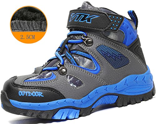 Kids Hiking Shoes Trekking Walking Snow Boots Antiskid Steel Buckle Sole Waterproof Winter Outdoor Climbing Cotton Sneaker.HS-8032-B-38,6 M US Big Kid(Foot Length=24cm),Blue by Littleplum