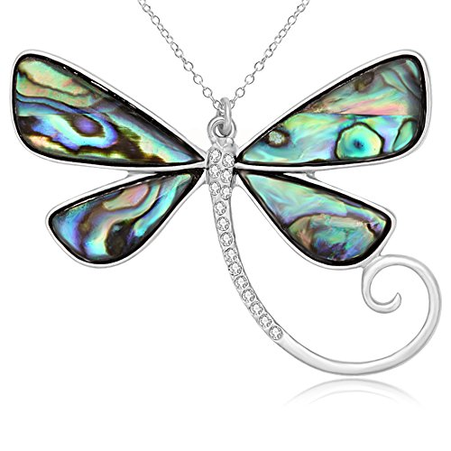 SENFAI Dragonfly Natural Abalone Shell Pendant Necklace 18