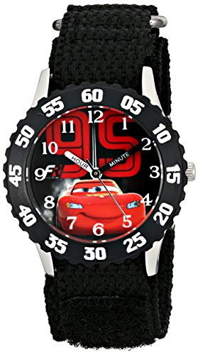 Disney Kids' W001586, Cars Lightning McQueen Stainless Steel Watch, Black Nylon Band]()