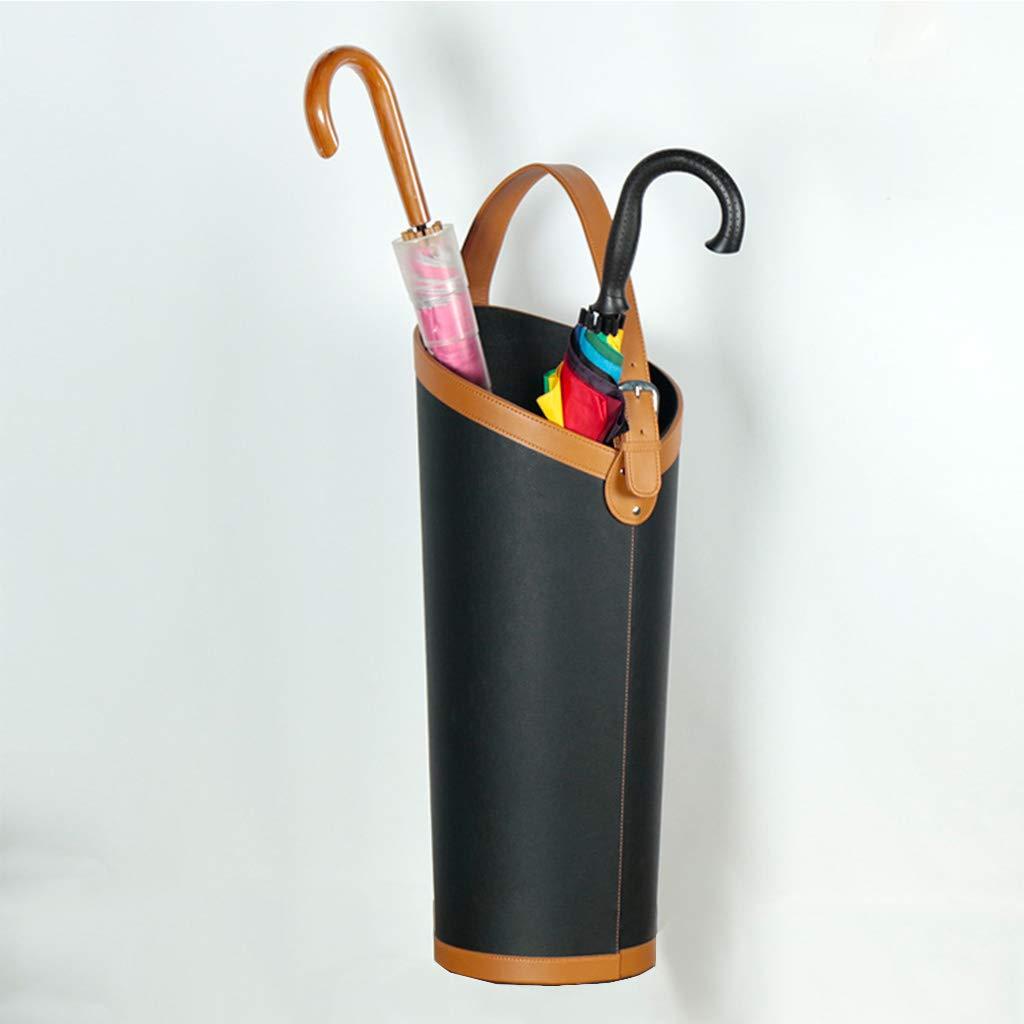 Portaombrelli in Pelle portaoggetti Creativo per riporre ombrelli (Nero) cheng