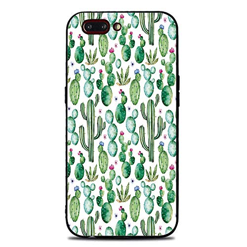 Phone Case Compatible with iphone7 Plus iphone8 Plus BrandNew Tempered Glass Backplane,Green Decor,Mexican Texas Cactus Plants Spikes Cartoon Like Art Print,White Light Pink and Lime Green,Anti-Shock ()
