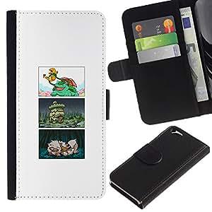 Protector de cuero de la PU de la cubierta del estilo de la carpeta del tirón BY RAYDREAMMM - Apple Iphone 6 - COMIC POKE JAPONÉS