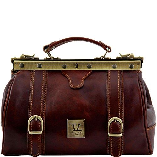 Tuscany Leather Monalisa Bolso de doctor en piel con hebillas frontales Marrón Bolsos de médico Marrón