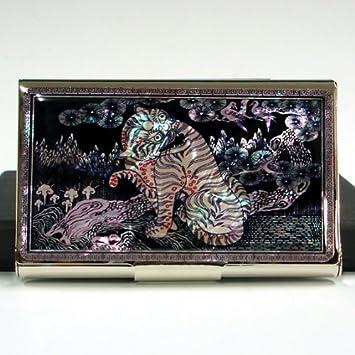 Visitenkartenetui Metall Tiger Vogel Luxus Schwarz Edelstahl