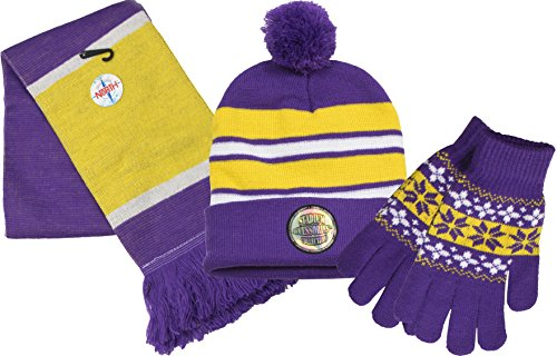 True Gear North Stadium Accessories Team Colored Cold Weather Pom Beanie, Scarf, and Stretchy Gloves Set Combo Pack - Purple, Gold, and White