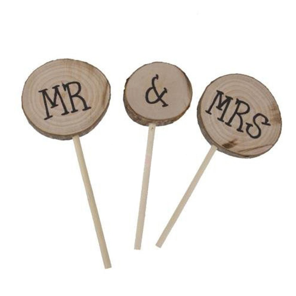 Wooden Round Mr Mrs Shabby Chic Rustic Wedding Cake Topper Pick Decoration Pixnor SYNCHKG096228
