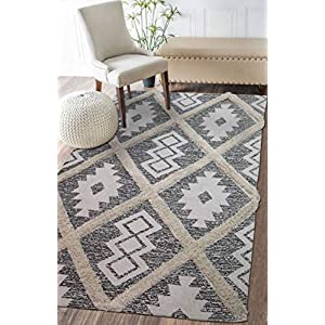 The Home Talk Cotton Printed & Tufted Floor Rug, Bedside Runner Carpet for Bedroom Living Room, 3×5 Feet Rectangle…